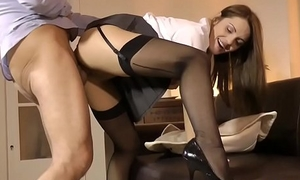 Euro schoolgirl doggystyled at the end of one's tether horny grandpa